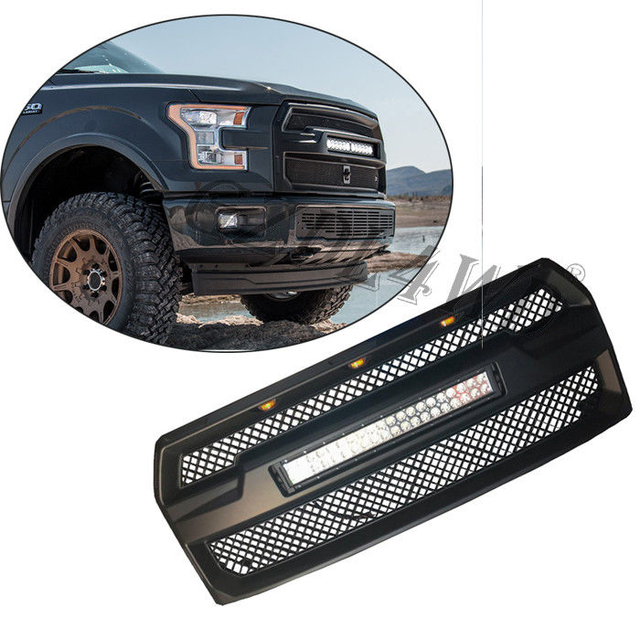 Raptor Style Auto Front Grill Mesh with 120w LED Bar For Ford F150 2015-2017