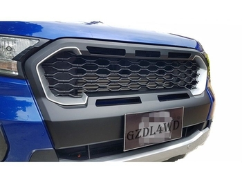 Simple Front Grill Mesh / 2019 Ranger Wildtrak MK3 Matte Black Grille With Silver Red Plastic Insert