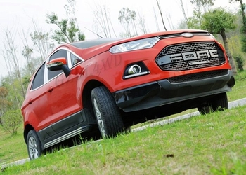 Ford Ecosport Auto Grill Mesh With Red / White Matte Logo Color