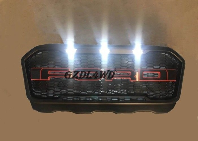 Ranger T7 PX2 Front Grill Mesh With Letter And LED / Wildtrak Pickup Accessories